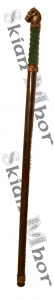 Mage staff with horse head and green grip, made by Skian Mhor - full view