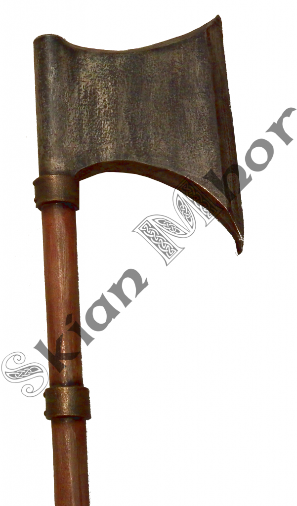 Large bearded axe with cuff details and padded grip, made by Skian Mhor - head view