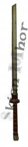 Black katana with padded grip, made by Skian Mhor - full view