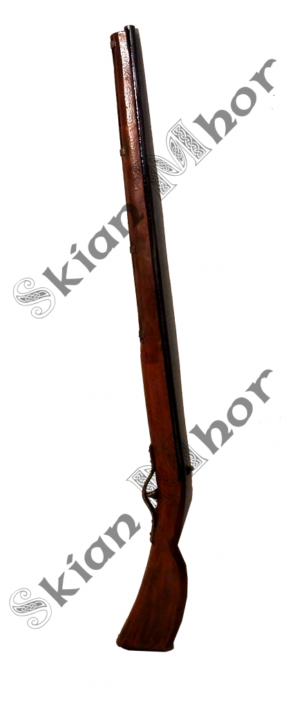 Musket with gold hammer and trigger, made by Skian Mhor - full view