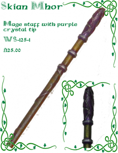 Mage staff with purple crystal tip - composite image